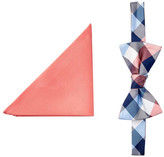 Tommy Hilfiger Solid & Buffalo Plaid Silk Bow Tie & Pocket Square Set