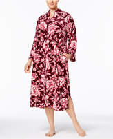 Miss Elaine Plus Size Printed Brushed Velour Zip-Front Robe