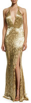 Alexandra Vidal Metallic Hand-Beaded Halter Gown, Gold
