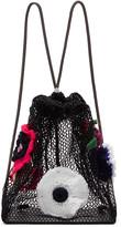 Christopher Kane Black Crocheted Flower Backpack