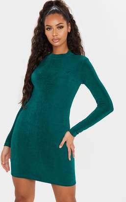 PrettyLittleThing Emerald Green Textured Slinky High Neck Long Sleeve Bodycon Dress