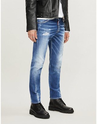 DSQUARED2 Mens Blue Cotton Ripped Sexy Twist Stretch-Denim Slim-Fit Jeans, Size: 48