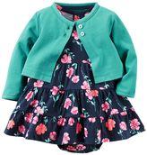 Carter's Baby Girl Floral Bodysuit Dress & Cardigan Set