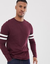 Asos Design DESIGN organic long sleeve t-shirt with stretch with contrast sleeve stripe in burgundy