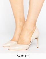 Lost Ink Wide Fit Cut Out Nude Court Shoes