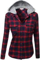 Awesome21 Super Soft Plaid Checker Detachable Hood Flannel Red Navy Size S