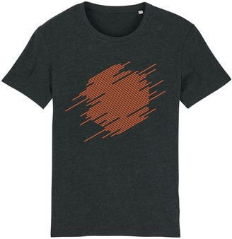 British Boxers Abstract Hexagon T-Shirt - Orange on Charcoal