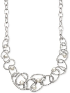 Belle de Mer Bridal Cultured Freshwater Pearl (5-10mm) and Crystal Linked Frontal Necklace in Silver Plated Brass