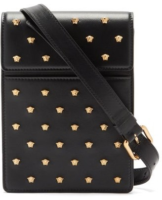 Versace Logo-studded Leather Cross-body Bag - Black