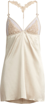 Fleur of England Golden Hour lace and silk-blend slip