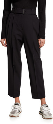 Brunello Cucinelli Cropped Wool Pleated Pants w/ Belt