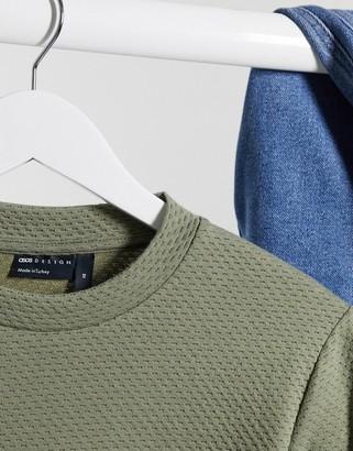 ASOS DESIGN muscle long sleeve t-shirt in khaki heavyweight textured fabric