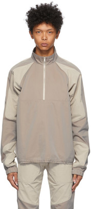 Arnar Már Jónsson Grey and Beige Patch Tracktop Jacket