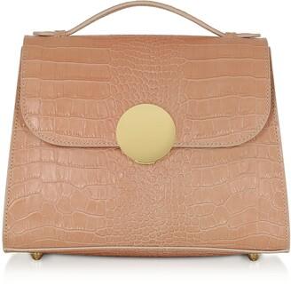 Le Parmentier Bombo Croco Embossed Leather Top-Handle Satchel Bag w/Stap