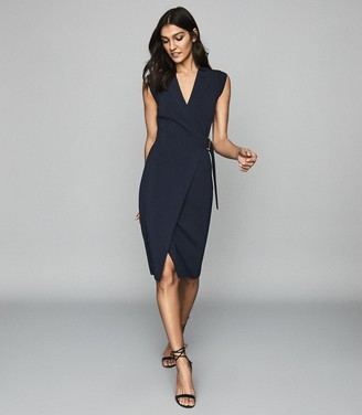 Reiss GABRIELLE KNITTED WRAP FRONT BODYCON DRESS Navy