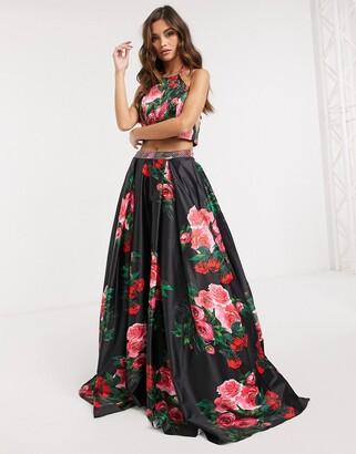 Jovani cut out skater maxi dress in floral dress