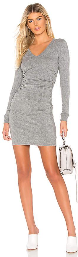 Enza Costa Cashmere V Neck Ruched Dress