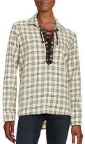 Vintage Havana Lace-Up Long Sleeve Flannel Plaid Shirt