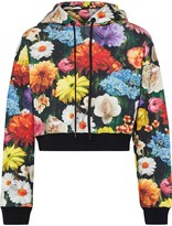 Alice + Olivia Barron Cropped Floral-print French Cotton-terry Hoodie