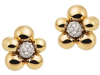 MARINA B 18K Yellow Gold & Pave Diamond Floral Stud Earrings