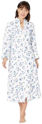 Carole Hochman Diamond Quilt Robe (White/Blue Floral) Women's Robe