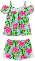 Rare Editions Baby Girls 2-Pc. Printed Cotton Top & Shorts Set