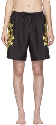 Versace Underwear Black and Gold Boxer Swim Shorts