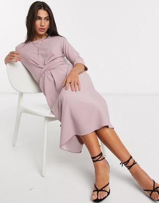 ASOS DESIGN tie wrap around midi skater dress in blush