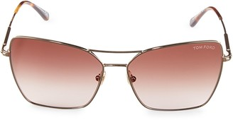 Tom Ford 61MM Square Browline Sunglasses