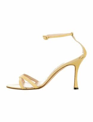 Manolo Blahnik Lizard Sandals Yellow
