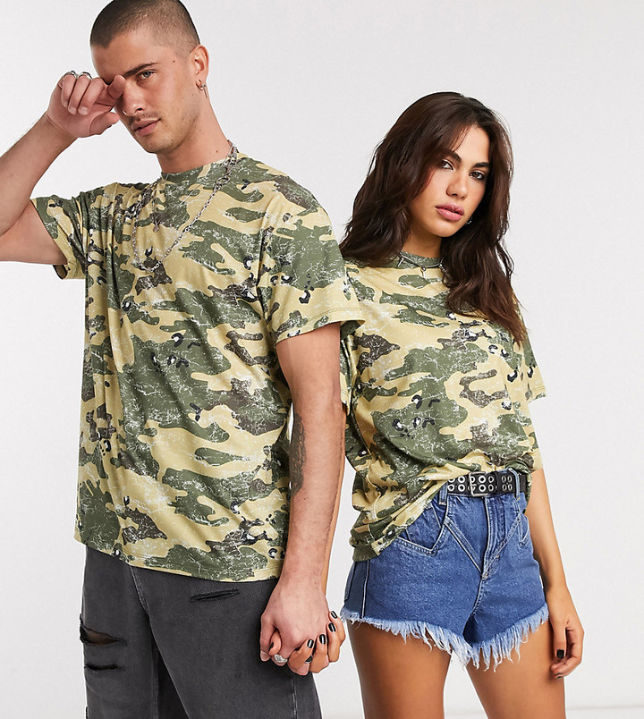 Reclaimed Vintage inspired unisex oversized t-shirt in washed camo print