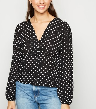 New Look Spot Long Sleeve Button Blouse