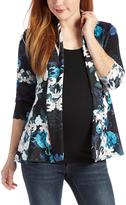 Glam Black & Aqua Floral Three-Quarter Sleeve Maternity Open Cardigan