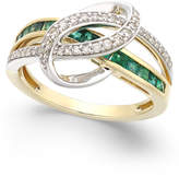 Macy's Emerald (3/4 ct. t.w.) and Diamond (1/5 ct. t.w.) Swirl Ring in 14k Gold