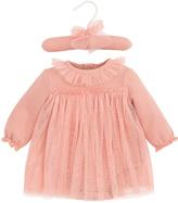 Elegant Baby Coral Sparkle Tulle Dress - Infant