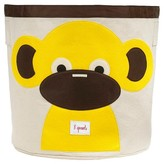 3 Sprouts Canvas Extra Large Round Storage Bin - Monkey