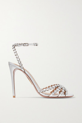 Aquazzura Tequila 105 Crystal-embellished Metallic Leather Sandals - Silver