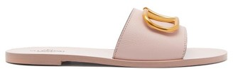 Valentino V-logo Leather Slides - Womens - Light Pink