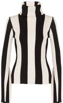 Monse - Striped Ribbed Stretch-knit Turtleneck Sweater - Black