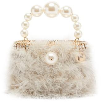 Rosantica Nuvola Faux-pearl Handle Marabou-feather Bag - Light Blue