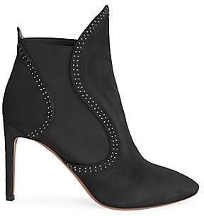 Alaia Women's Embellished Suede-Blend Point Toe Ankle Boots