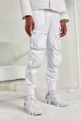 boohoo Mens White Deep Cuff Utility Pocket Joggers, White