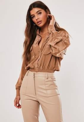 Missguided Brown Elastic Hem Crop Utility Pocket Shirt