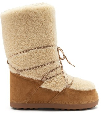 Bogner Cervinia Shearling And Suede Snow Boots - Tan White