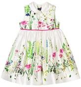 Oscar de la Renta Botanical Print Mikado Pinafore Dress and Briefs