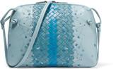 Bottega Veneta Messenger Small Embroidered Intrecciato Leather Shoulder Bag - Blue