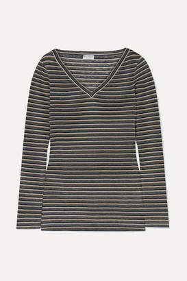 Brunello Cucinelli Metallic Striped Linen-blend Top - Gray