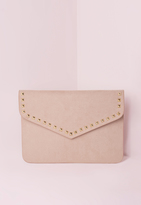 Missguided Stud Trim Envelope Clutch Bag Nude
