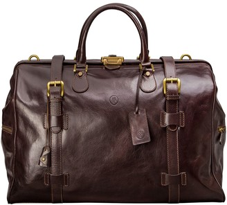 Maxwell Scott Bags Italian Crafted Chocolate Leather Gladstone Travel Bag