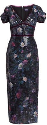 Marchesa Sequin Print Floral Sheath Dress
